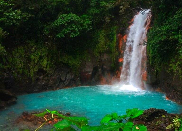 Blue Celeste River and Waterfall