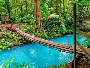 Rio Celeste blue river in Costa Rica