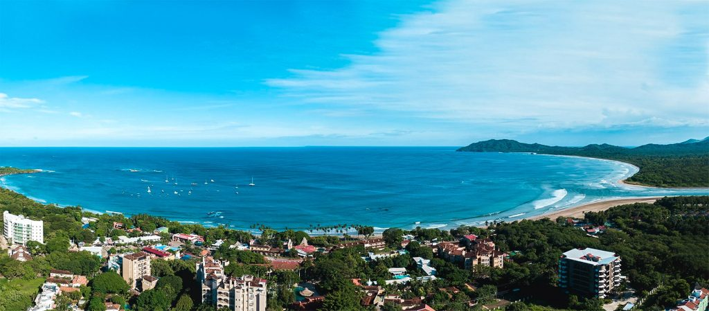 Tamarindo beach aerial panorama